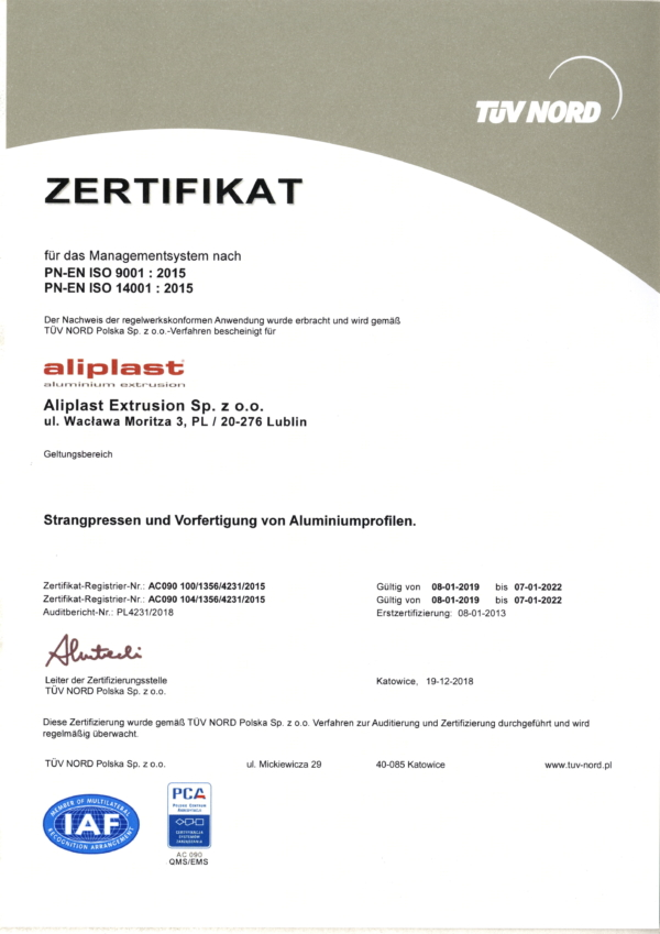 ZERTIFIKAT PN-EN ISO 9001 : 2015 / 14001 : 2015