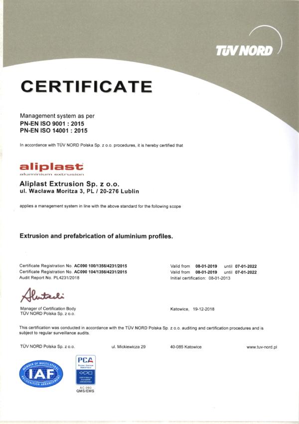 Certyficate PCA-IMS19 EN