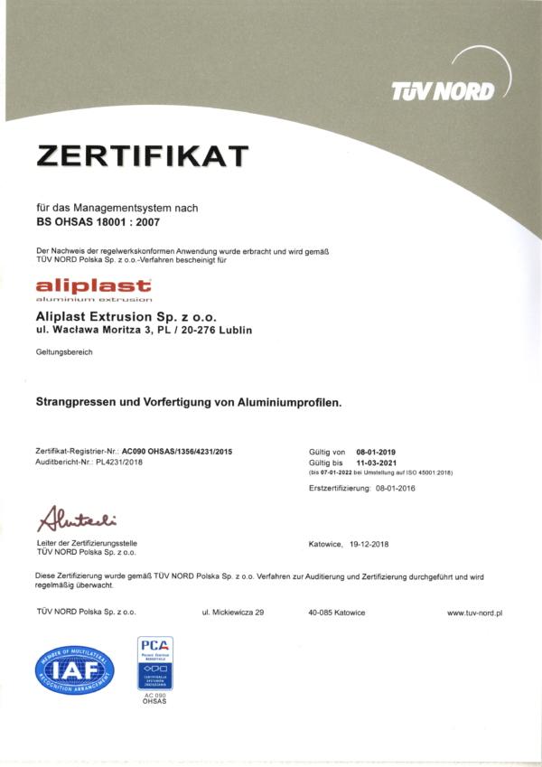 ZERTIFIKAT  BS OHSAS 18001 : 2007