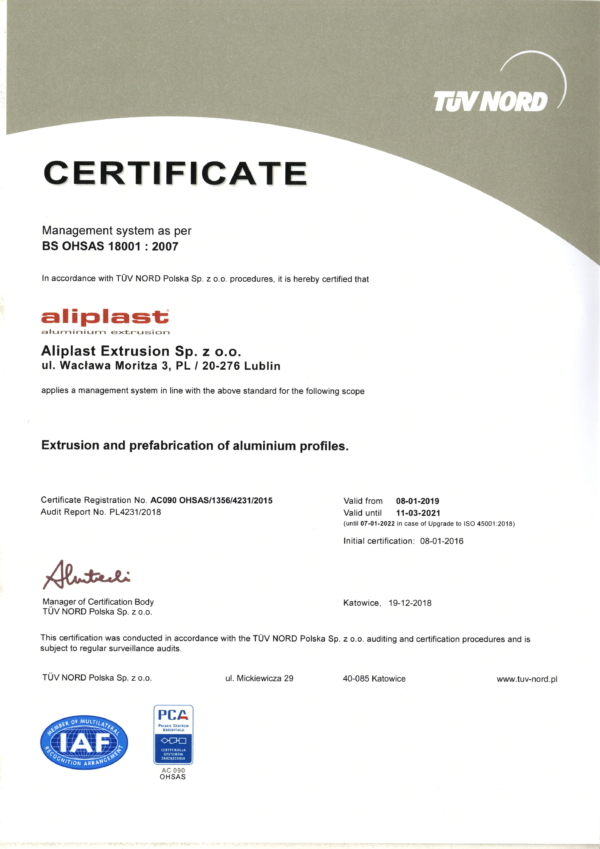 Certyficate PCA-OHSAS19 EN