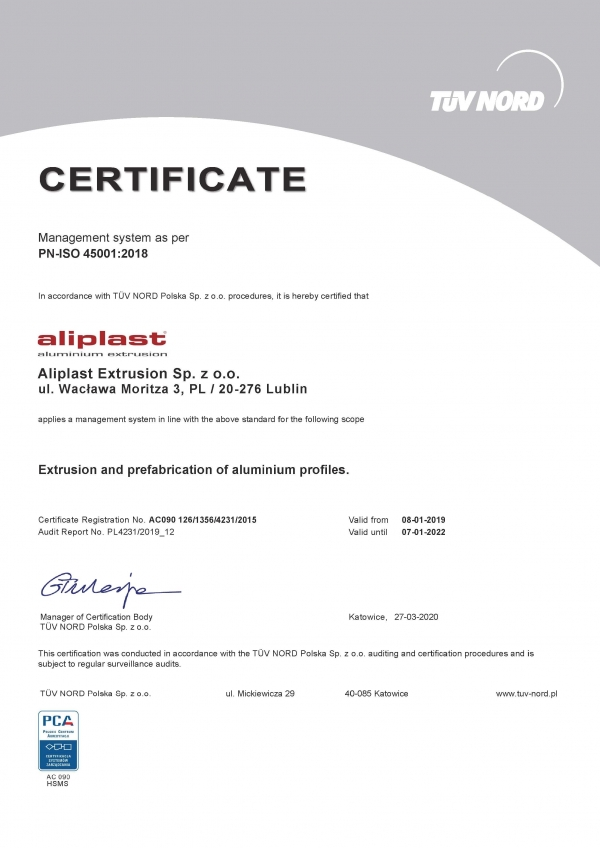 Certificate-TUV-PN-ISO-45001-2018