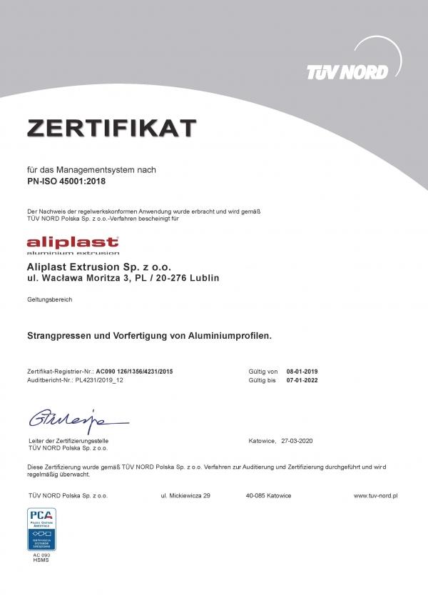 ZERTIFIKAT TUV PN ISO 45001-2018