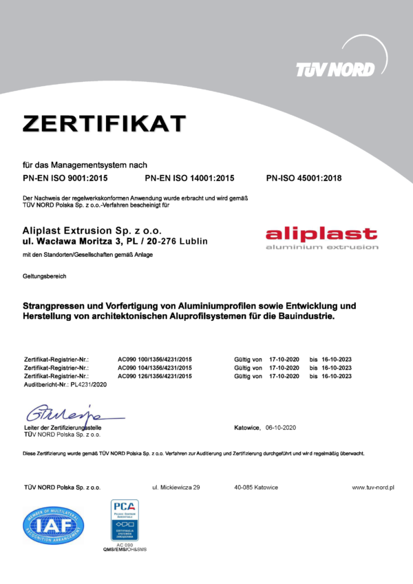 Zertifikat Aliplast Extrusion ISO 9001; 14001; 45001