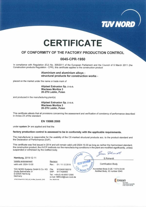 Zertifikat CPR Aliplast Extrusion