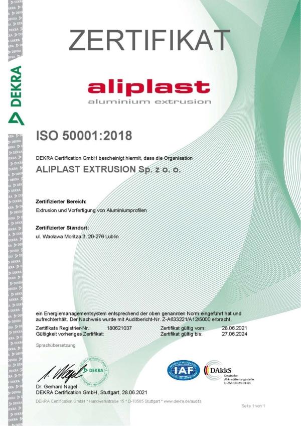 Zertifikat ISO 50001 Aliplast Extrusion